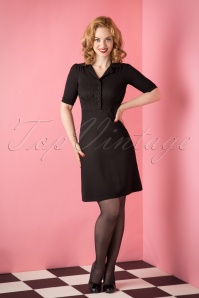 40s Milano Diner Crepe Dress in Black