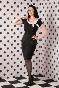 50s Polka Bow Pencil Dress in Black