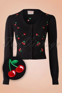 50s Drive me Crazy Cherries Cardigan in Black