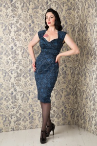 50s Love Bow Pencil Dress in Blue Lace