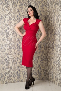 50s Harmosa Pencil Dress in Red