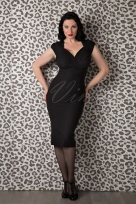50s Harmosa Pencil Dress in Black