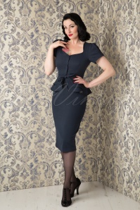 50s Jean Peplum Dress in Dark Navy