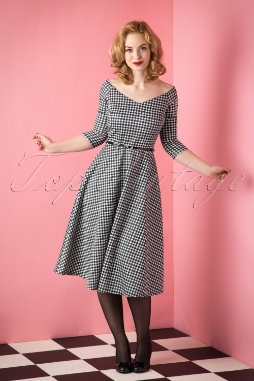 Vintage Chic 50s Roxan Swing Dress in Houndstooth Dress 102 14 16837 20151008 030W