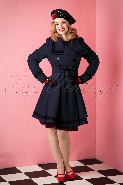 Retro Vintage Style Coats, Jackets, Fur Stoles 50s Millie Swing Winter Coat in Navy £90.95 AT vintagedancer.com