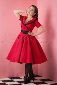 50s Mimi Polkadot Swing Dress in Red
