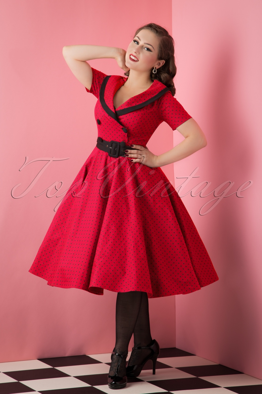 50s Dresses, Pinup Dresses, Swing Dresses 50s Mimi Polkadot Swing Dress in Red £55.16 AT vintagedancer.com