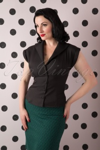50s Dream Master Short Sleeve Blouse in Black
