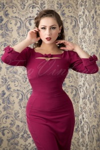 Miss Candyfloss Purple Pencil Dress with Bow 100 20 16246 20151016 713W