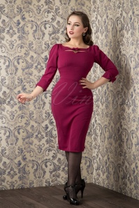 50s Sylvana Bow Pencil Dress in Raspberry Pink
