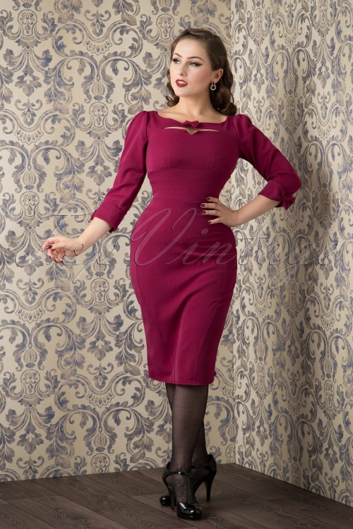 Miss Candyfloss Purple Pencil Dress with Bow 100 20 16246 20151016 699W