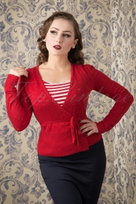 King Louie 40s Wrap Heart Ajour Top in Red 110 27 12278 20151016 479W