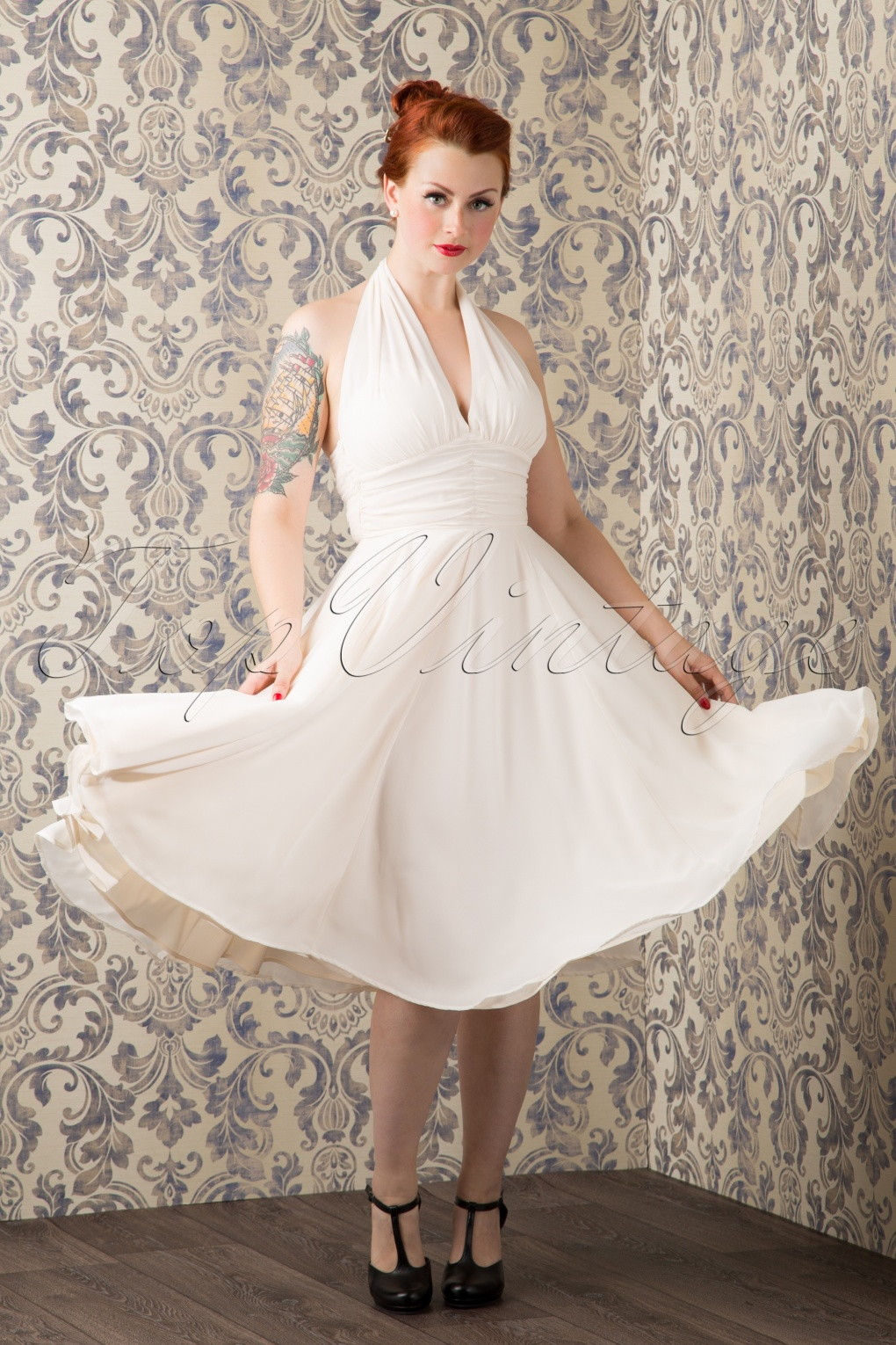 1950s Prom Dresses & Party Dresses 50s Monroe Dress in Ivory White £50.24 AT vintagedancer.com