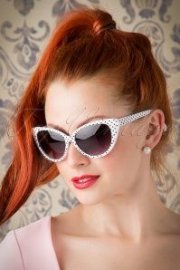 50s Lucy Black Polkadot Sunglasses in White