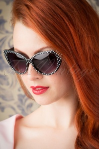 50s Lucy White Polkadot Sunglasses in Black
