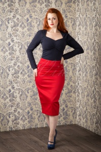 Collectif Clothing 50s Hilda Pencil Skirt Red Buttons 120 20 10285 20151016 230W
