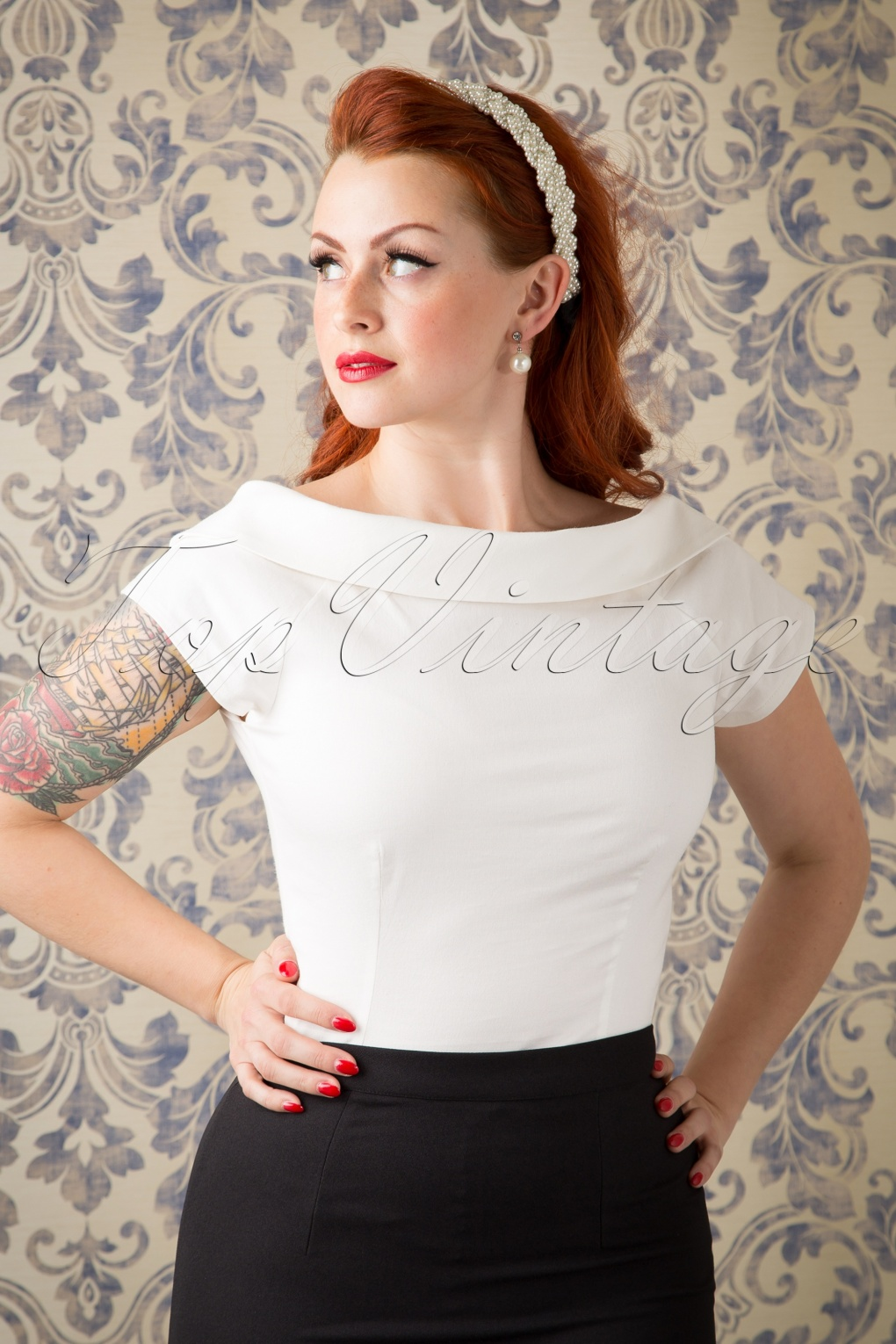 1960s Style Dresses, Clothing, Shoes UK 50s Cordelia Top in Ivory £34.16 AT vintagedancer.com