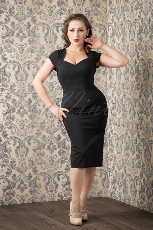 Collectif Clothing 50s Regina Bengaline Pencil Dress in Black 14747 20151016 586W