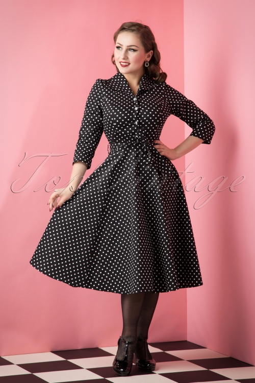 Hearts & Roses Black White Dotted Swing Dress  102 14 17130 20151016 293W
