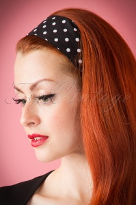 ZaZoo Vintage 50s Retro Hair Scarf in Black with Polka Dots 10676 20151016 272aW