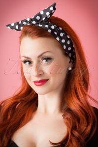 ZaZoo 50s Pin Up Hair Scarf Black Polkadot 13248 20151016 251W