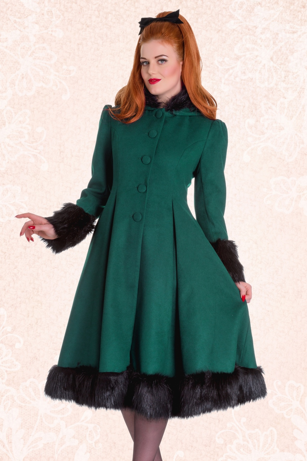 Vintage Coats & Jackets | Retro Coats and Jackets 30s Elvira Coat in Deep Green £125.67 AT vintagedancer.com