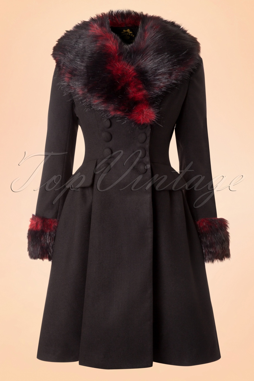 Retro Vintage Style Coats, Jackets, Fur Stoles 50s Rock Noir Coat in Black and Red £111.88 AT vintagedancer.com
