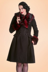 Bunny Rock Noir Faux Fur Black and Red Coat 152 10 16730 1