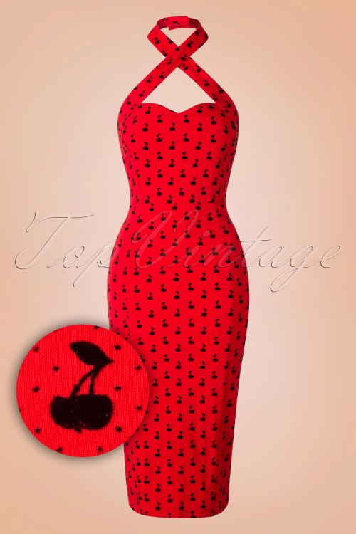 e294cc0caed43 Collectif Clothing Penny Cherry Red Flock Pencil Dress 16107 20150624 0005W1