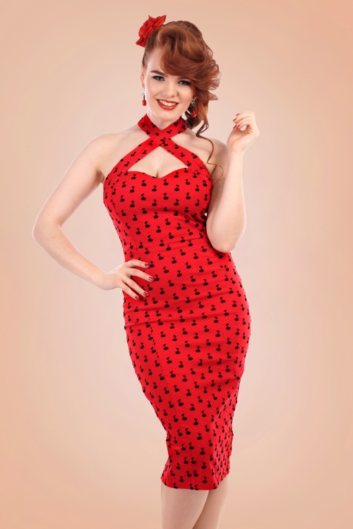 12a0659051023 Collectif Clothing Penny Cherry Red Flock Pencil Dress 16107 20150624 1