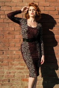 50s Deadly Dames Hotrod Honey Dress in Leopard
