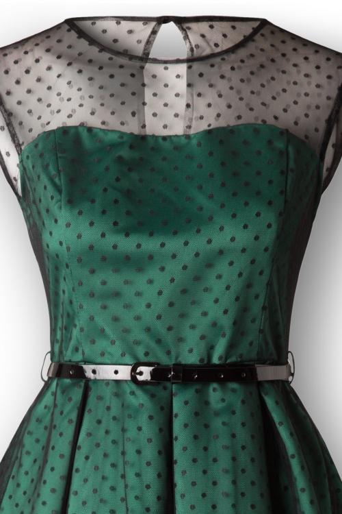 50s Aleena Polka Dot Prom Dress in Emerald Green