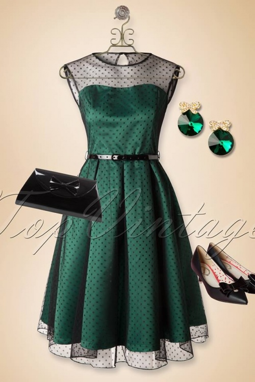 50s Aleena Polka Dot Prom Dress in Emerald Green