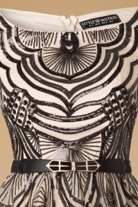 Little Mistress Fit and Flare Cream Black Sequin Dress 100 57 17313 20151030 0005V