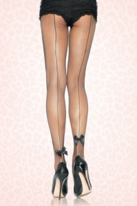 50s Edie Satin Bow Seamed Tights in Black