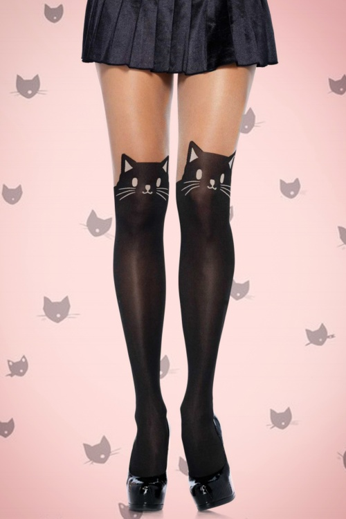 Rouge Royale Spandex Black Cat Opaque Pantyhose 171 10 17398 30102015 01
