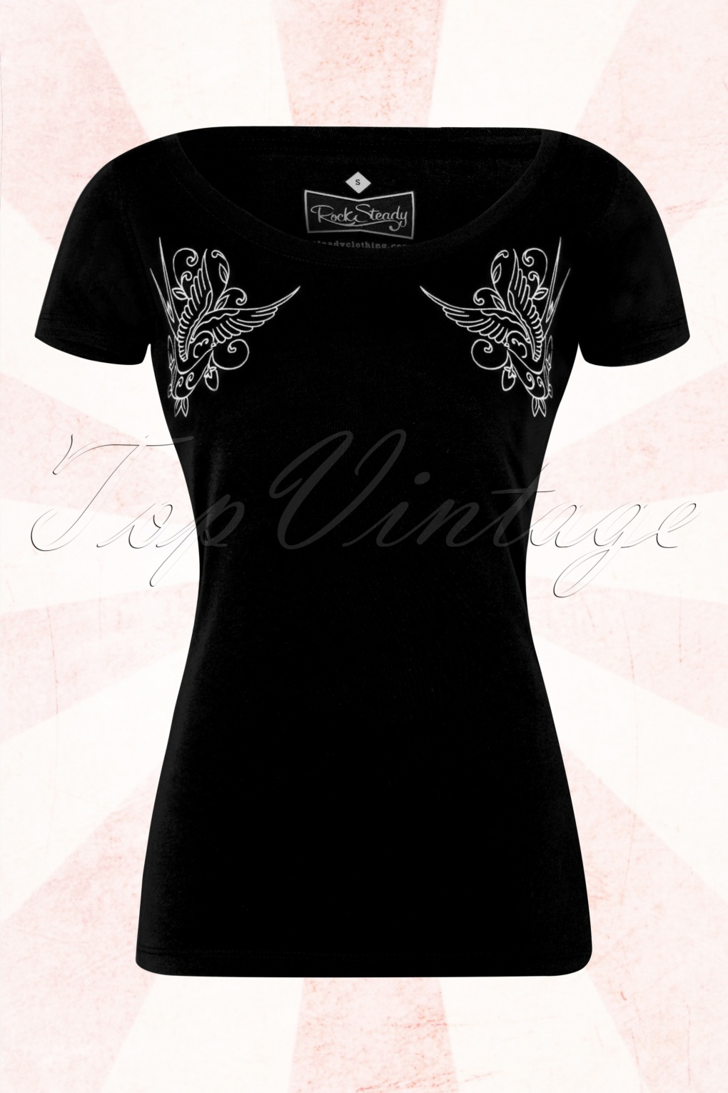 50s rocking sparrow t shirt in black for Full black t shirt