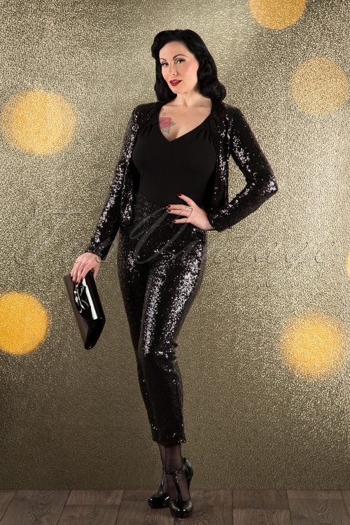 Daphne 70s Eloisa Sequin Trousers in Black 17276 20151105 0008W