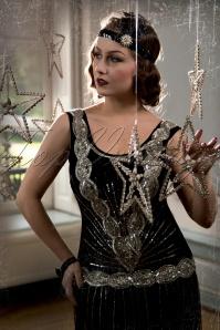 Zelda Flapper Dress Années 1920 en Noir