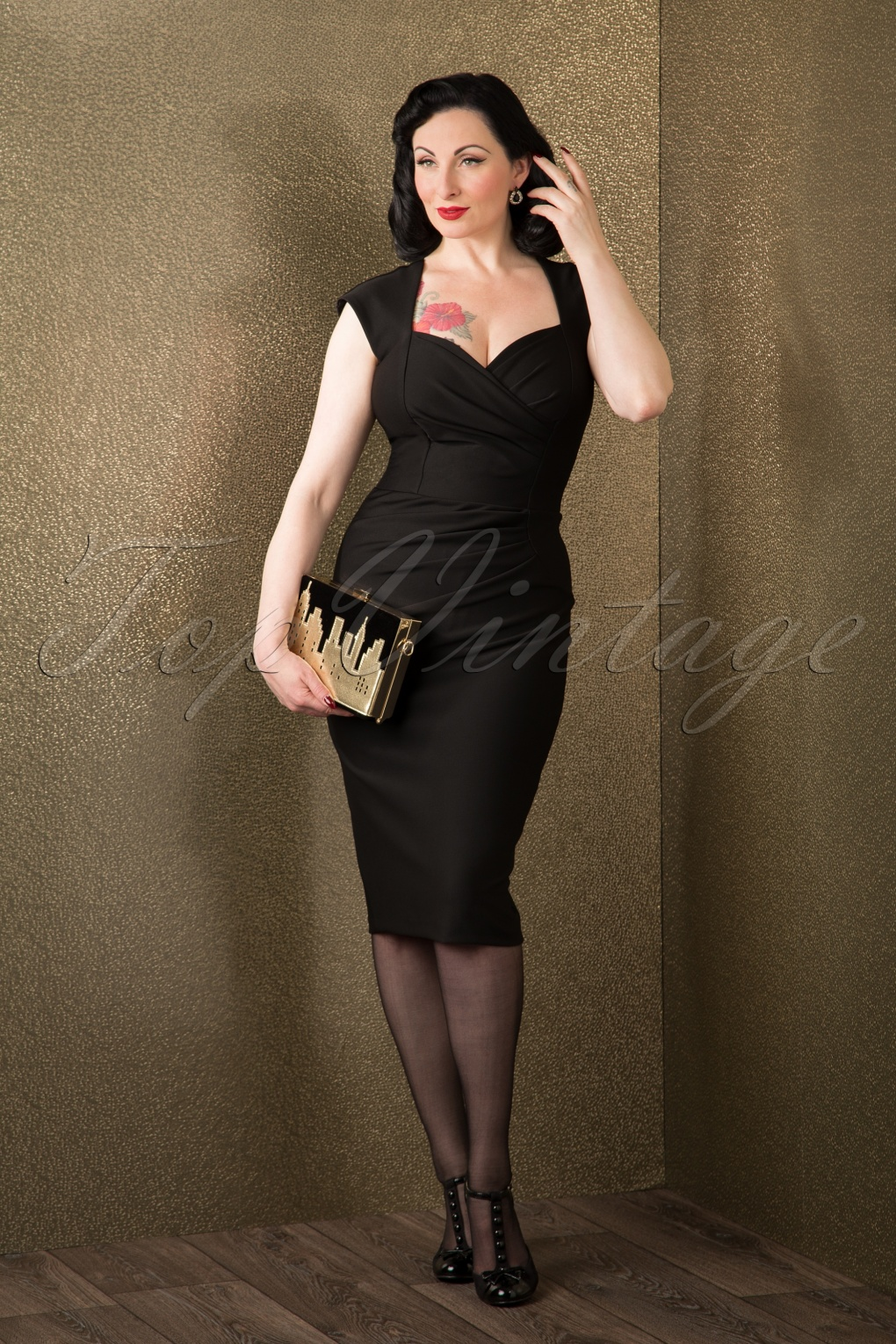 50s vivian pin up pencil dress in black. Black Bedroom Furniture Sets. Home Design Ideas
