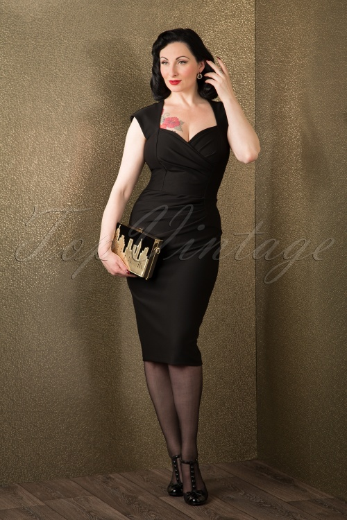 buying cheap beauty various styles 50s Vivian Pin-Up Pencil Dress in Black