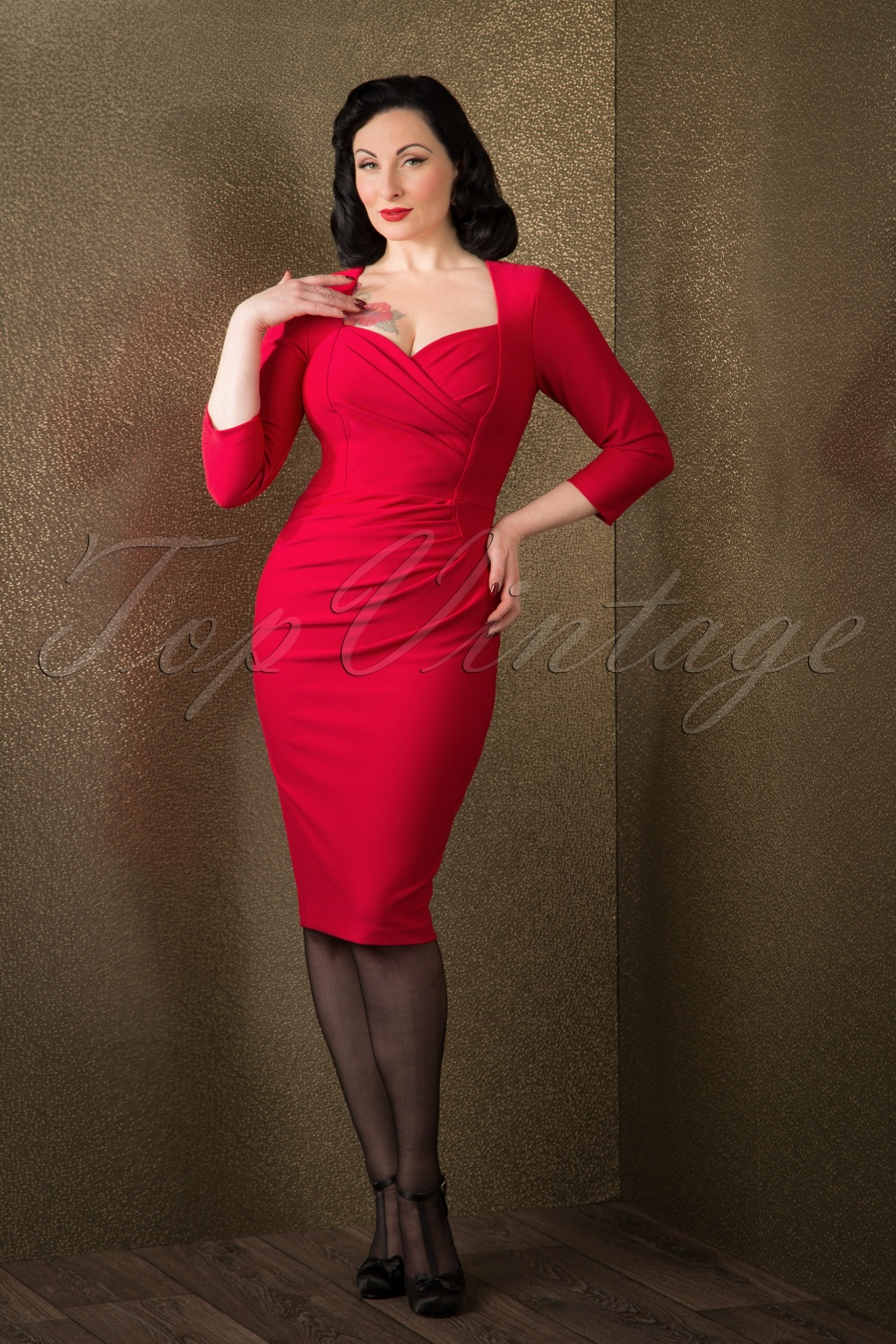 50s vivian pin up pencil dress with 3 4 sleeves in red. Black Bedroom Furniture Sets. Home Design Ideas