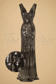 30s Virginia Maxi Party Dress in Gold