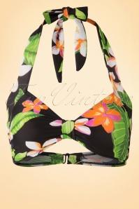 50s Classic Floral Bikini Top in Black