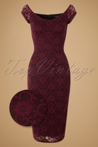 50s De Milo Pencil Dress in Wine Lace