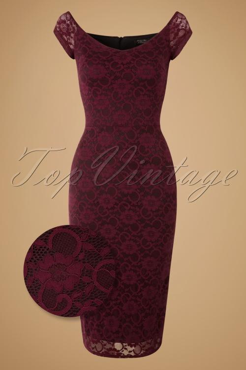 Vintage Chic 50s De Milo Pencil Dress in Wine Lace 17285 20151106 0004WV