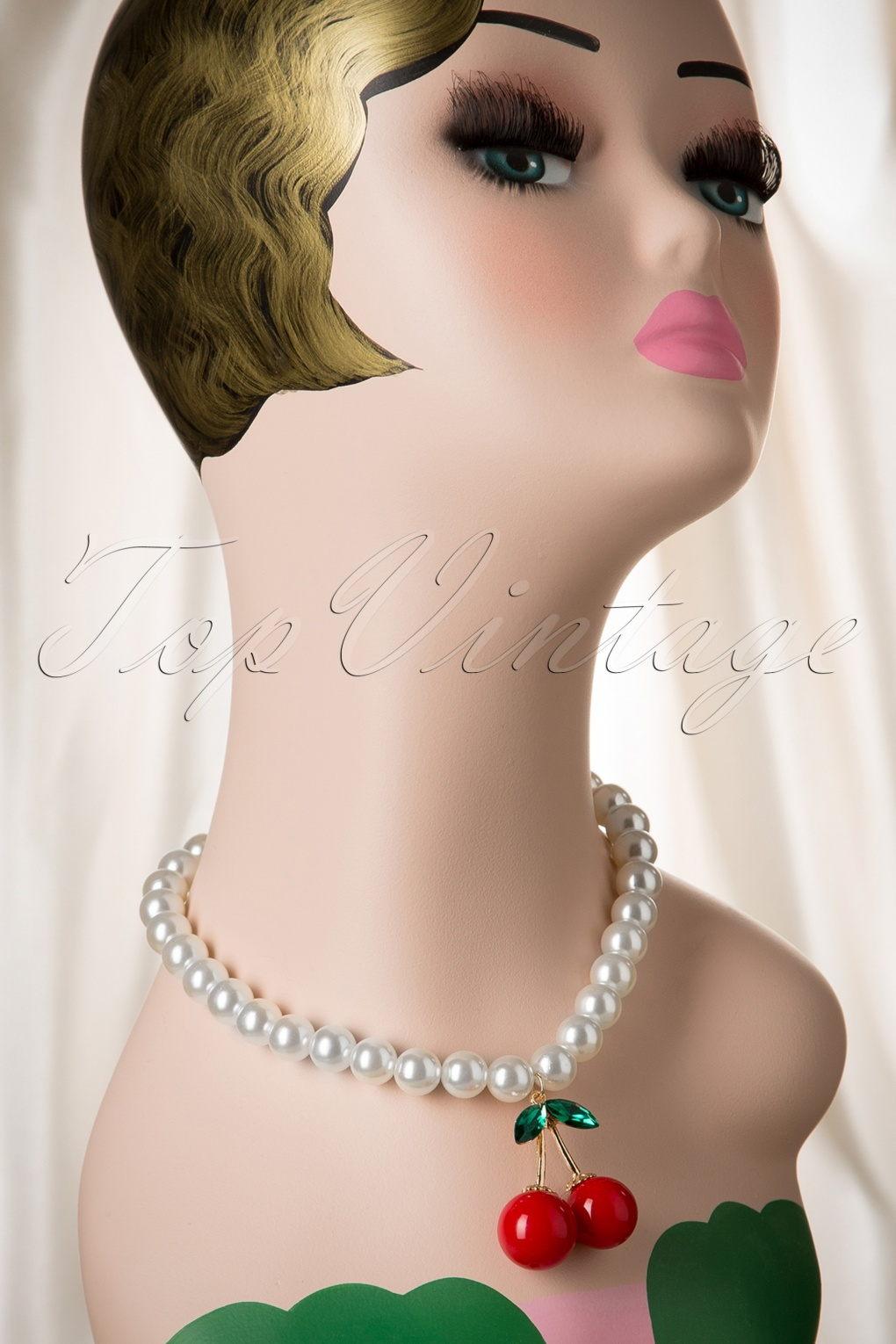 1950s Costume Jewelry 50s I Love My Cherry Pearl Necklace £11.25 AT vintagedancer.com
