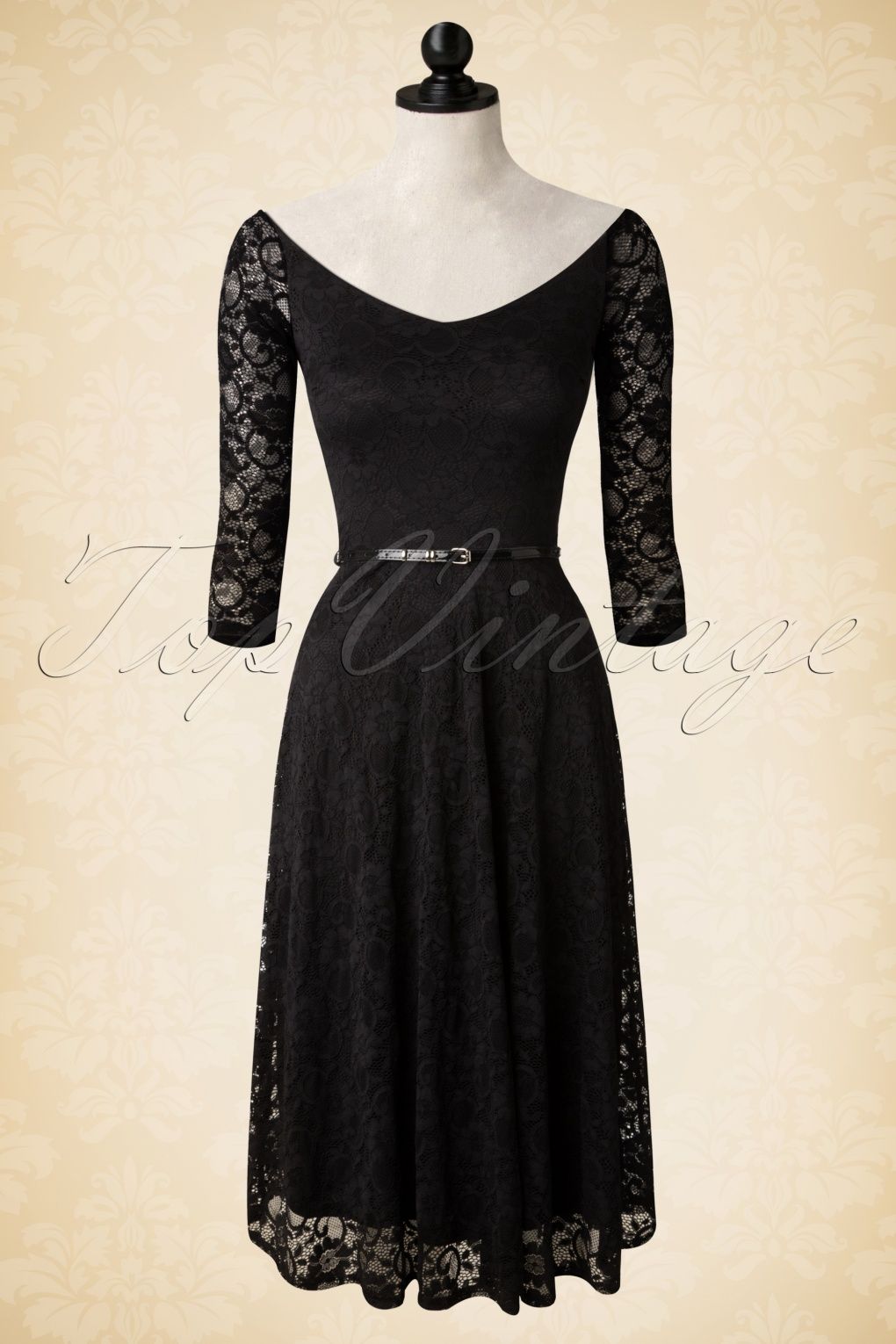 50s roxan lace swing dress in black. Black Bedroom Furniture Sets. Home Design Ideas