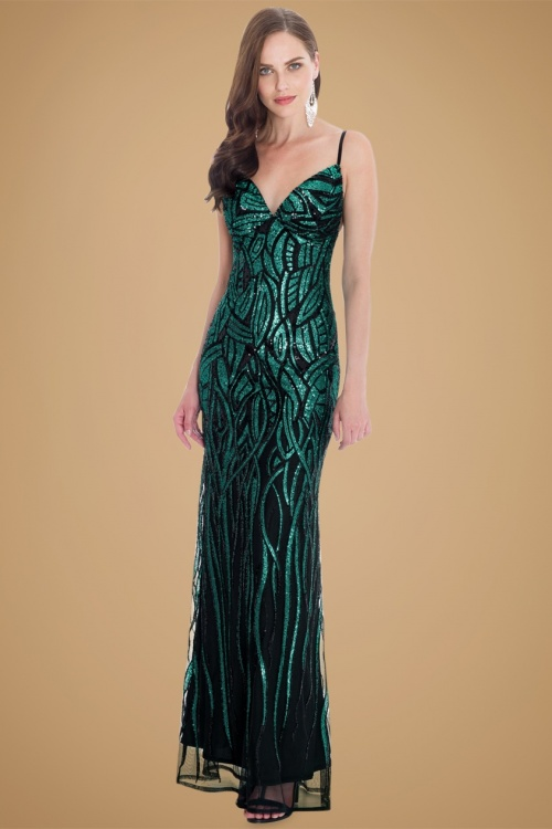 30s Vera Sequin Maxi Party Dress in Emerald