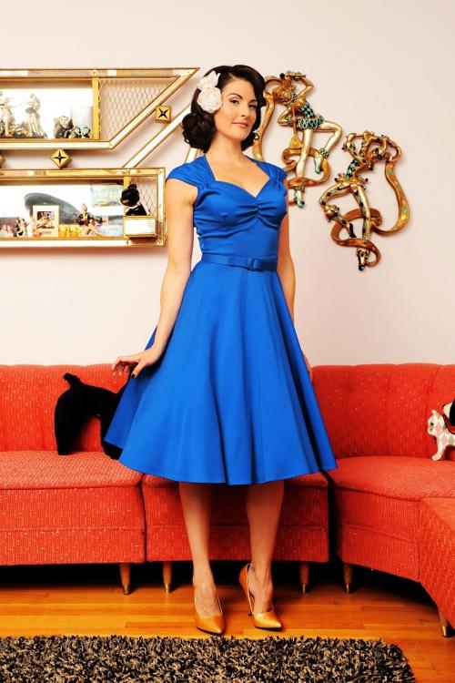 50s heidi dress in royal blue. Black Bedroom Furniture Sets. Home Design Ideas